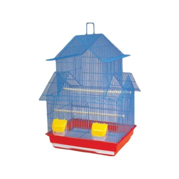Daro – Lovebird and Parakeet cage – Blue, Red and Yellow (47 x 36 x 68cm)